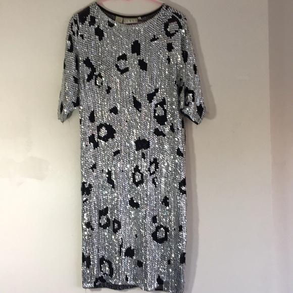 VINTAGE Sequins and Silk Leopard Print Dress